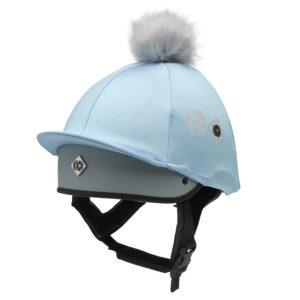 This Esme blue pom pom hat silk